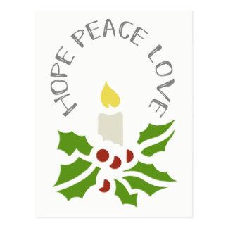 Cartão Postal A esperança, paz, ama o azevinho minimalista e a