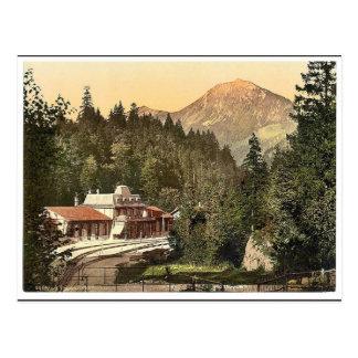 Cartão Postal A estação de comboio, Brunig, Bernese Oberland,