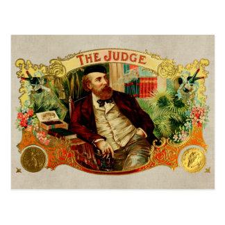 Cartão Postal A etiqueta da caixa de charuto do vintage do juiz