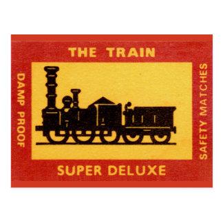 Cartão Postal A etiqueta do fósforo do vintage do trem