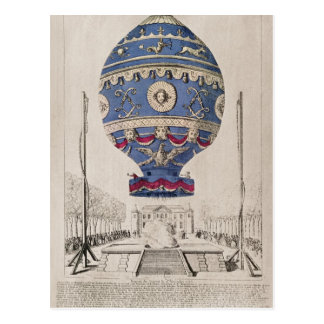 Cartão Postal A experiência do balão dos irmãos de Montgolfier