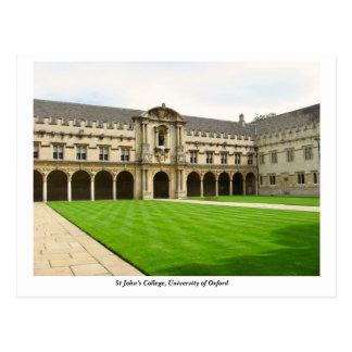 Cartão Postal A faculdade de St John, universidade de Oxford,