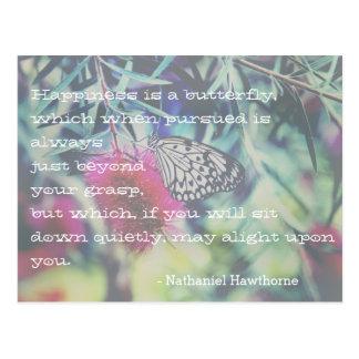 Cartão Postal A felicidade é uma borboleta - citações de