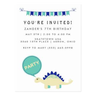 Cartão Postal A festa de aniversário azul do dinossauro do