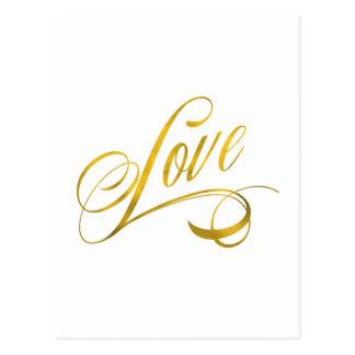 Cartão Postal A folha do falso do ouro das citações do amor cita