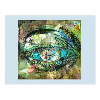 Cartão Postal A foto do olho o mais azul no montagem com