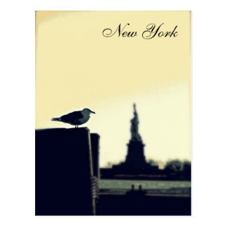 Cartão Postal A gaivota e a estátua da liberdade