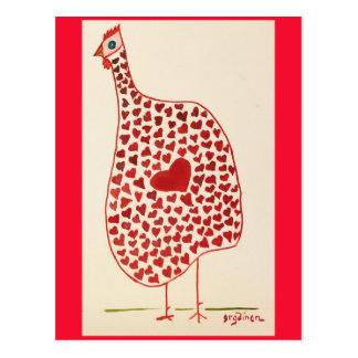 Cartão Postal A galinha dos namorados apoia a saúde da lareira