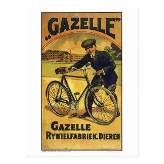 Cartão Postal A gazela dá um ciclo o poster fino da bicicleta do
