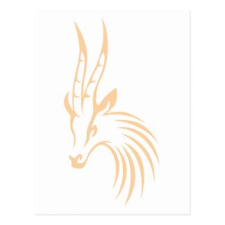 Cartão Postal A gazela de Thomson no estilo do desenho da