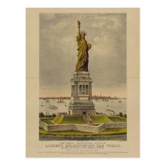 Cartão Postal A grande estátua de Bartholdi por Ives 1885