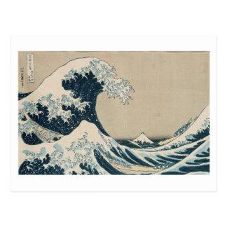 Cartão Postal A grande onda de Kanagawa, vistas de Monte Fuji