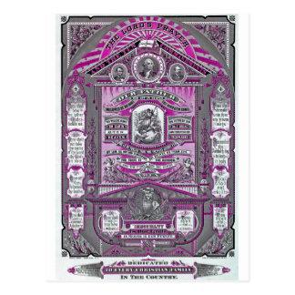 Cartão Postal A gravura do vintage da Oração do senhor (rosa)