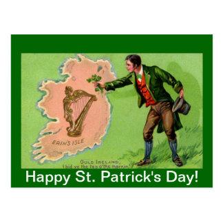 Cartão Postal A ilha de Erin do dia de St Patrick do vintage
