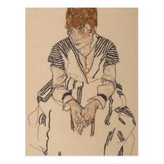 Cartão Postal A irmã do artista de Egon Schiele- na lei