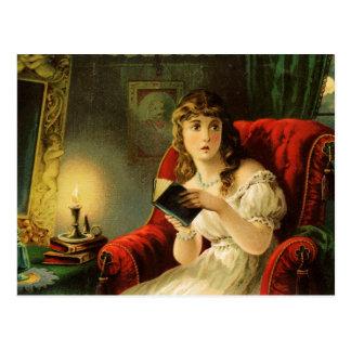 Cartão Postal A leitura da jovem senhora pela luz de vela
