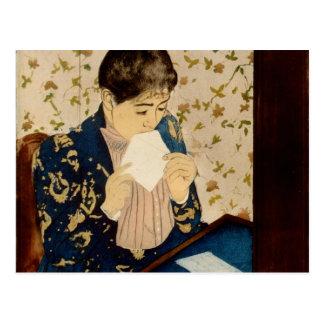 Cartão Postal A letra de Mary Cassatt (cerca de 1891)