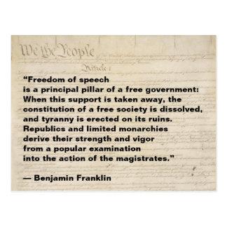 Cartão Postal A liberdade de expressão é uma coluna do governo