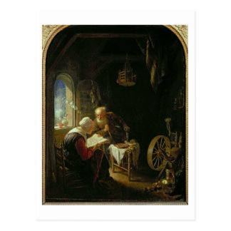 Cartão Postal A lição da bíblia, ou Anne e Tobias (óleo no