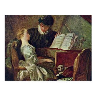 Cartão Postal A lição de música, por Fragonard, Jean Honoré