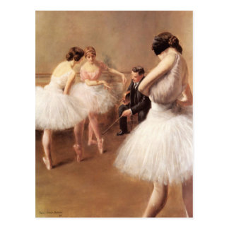 Cartão Postal A lição do balé pelo Portador-Belleuse de Pierre