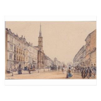 Cartão Postal A linha de caçador em Viena por Rudolf von Alt