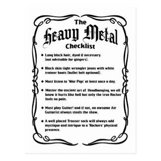Cartão Postal A lista de verificação do metal pesado