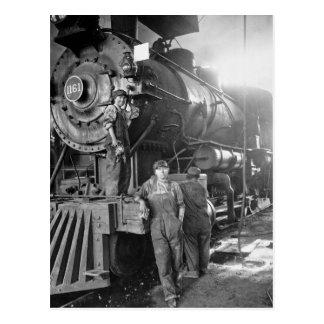 Cartão Postal A locomotiva do vintage dos galões do Roundhouse