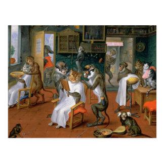 Cartão Postal A loja de barbeiro com macacos e gatos