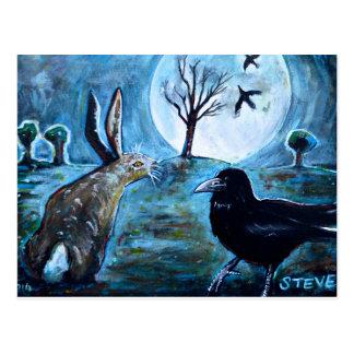 Cartão Postal A lua, a lebre e o corvo