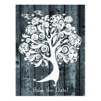 Cartão Postal A madeira azul de dança da árvore branca salvar a