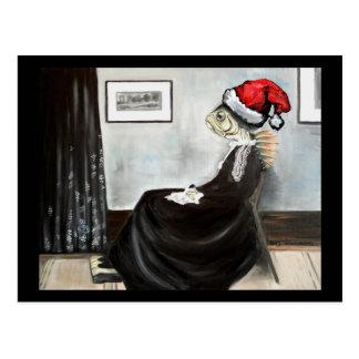 Cartão Postal A mãe do assobiador como um peixe com um chapéu do