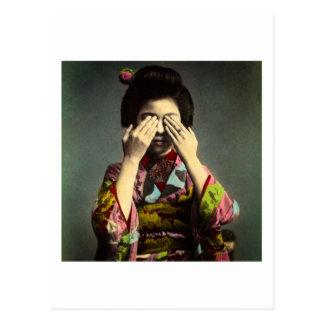 Cartão Postal A mão velha de Japão do vintage tímido da gueixa