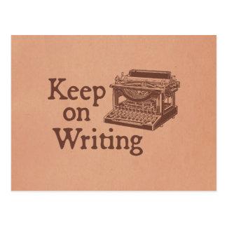 Cartão Postal A máquina de escrever do vintage de Brown