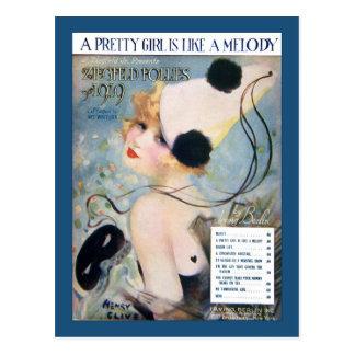 Cartão Postal A menina bonito do vintage é como uma melodia