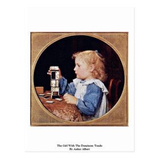 Cartão Postal A menina com os dominós Tondo por Anker Albert