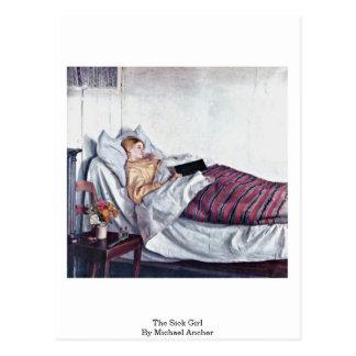 Cartão Postal A menina doente (antro Syge Pige) por Michael