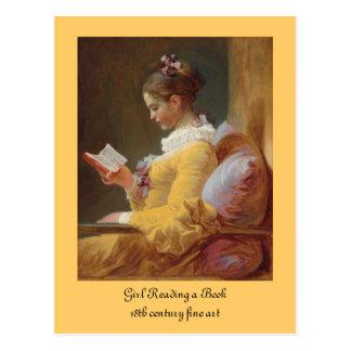 Cartão Postal A menina francesa do leitor no vestido amarelo