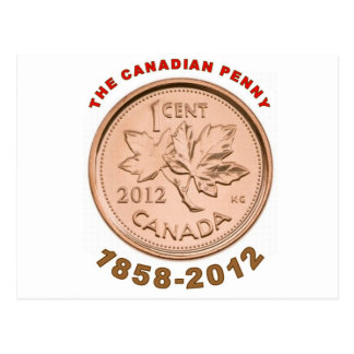 Cartão Postal a moeda de um centavo canadense 1858-2012