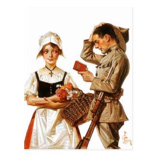 Cartão Postal A mulher francesa bonito e o soldado nervoso