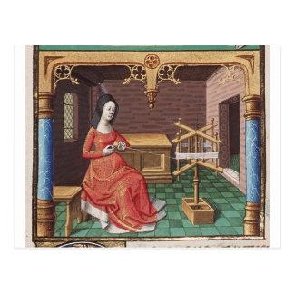 Cartão Postal A mulher medieval enrola o fio
