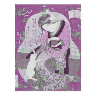 Cartão Postal A mulher & o gato japoneses cor-de-rosa/ReMix da