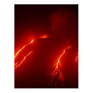 Cartão Postal A noite entra em erupção o vulcão Klyuchevskaya