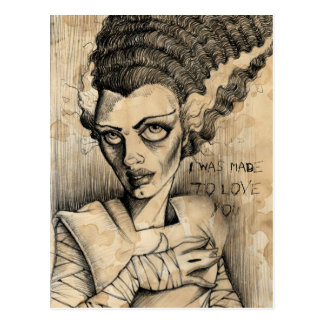 Cartão Postal A noiva de Frankenstein fez para amá-lo