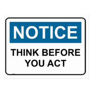 Cartão Postal A OBSERVAÇÃO pensa antes que você actue