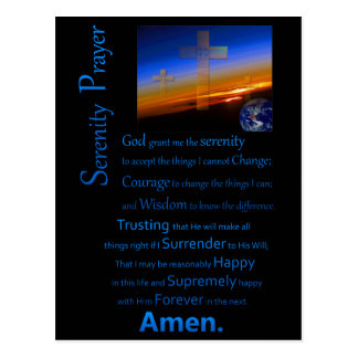 Cartão Postal A oração da serenidade no azul do espaço
