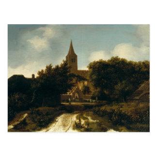 Cartão Postal A paisagem arborizada com figuras aproxima uma