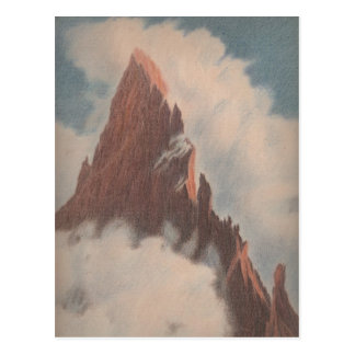 Cartão Postal A paisagem do Mountain View do vintage nubla-se a