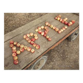 """Cartão Postal A palavra """"maçã"""" nas maçãs"""