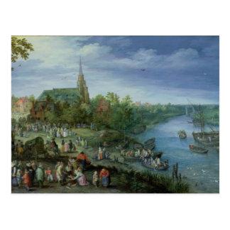 Cartão Postal A paróquia anual justa em Schelle, 1614